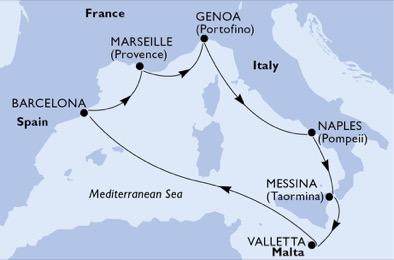 مسیر کروز MSC Bellissima