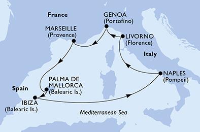 مسیر کروز MSC fantasia