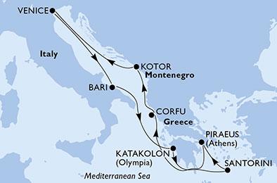 مسیر کروز MSC magnifica